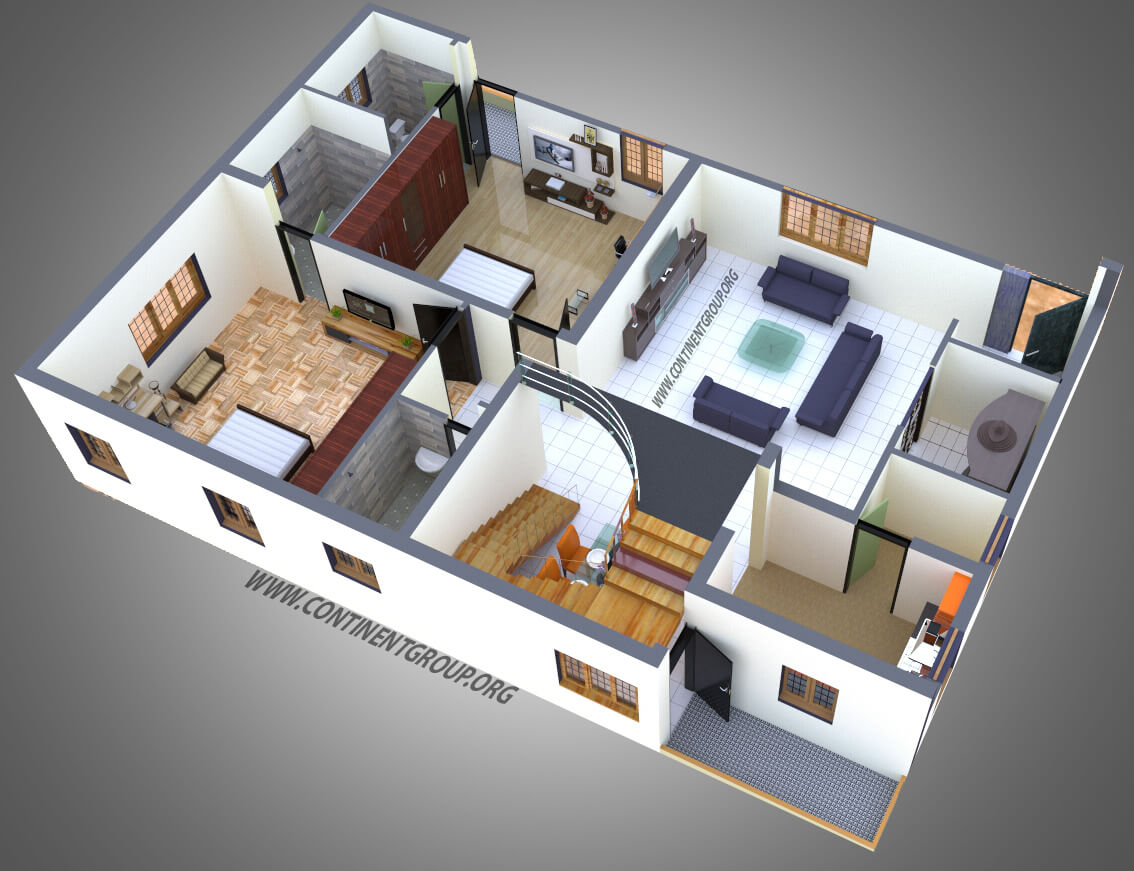 Project gallery building elevation 3d floor plan interior for Plan 3d